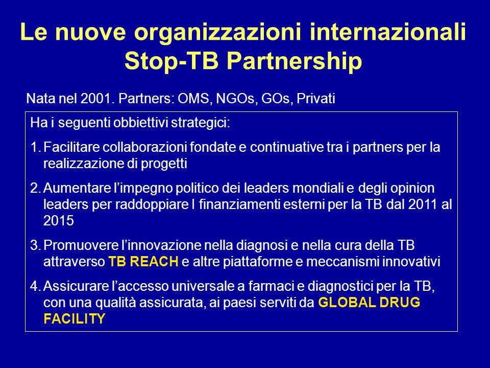 Le nuove organizzazioni internazionali Stop-TB Partnership Nata nel 2001. Partners: OMS, NGOs, GOs, Privati Ha i seguenti obbiettivi strategici: 1.Fac
