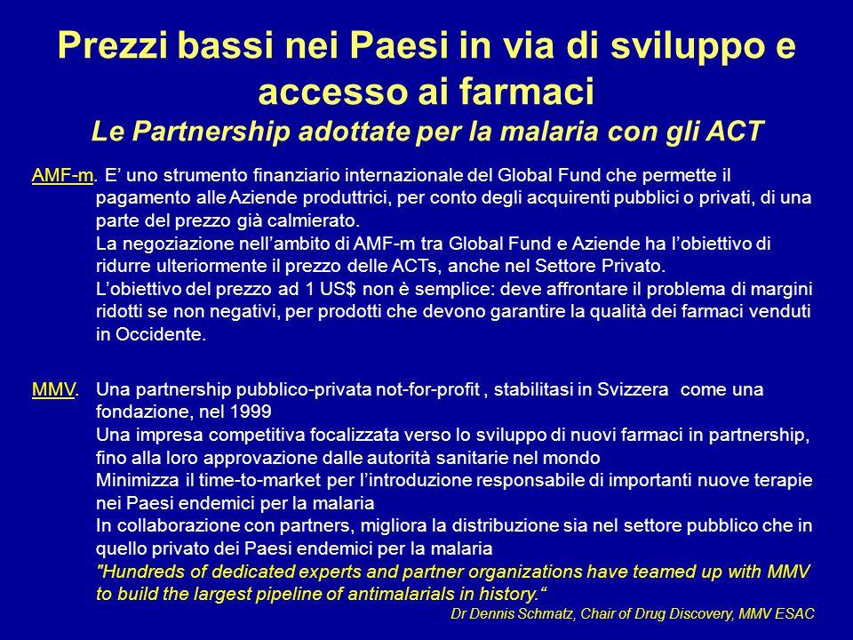 Prezzi bassi nei Paesi in via di sviluppo e accesso ai farmaci Le Partnership adottate per la malaria con gli ACT AMF-m. E' uno strumento finanziario