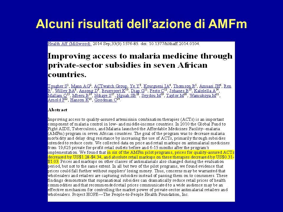 Alcuni risultati dell'azione di AMFm
