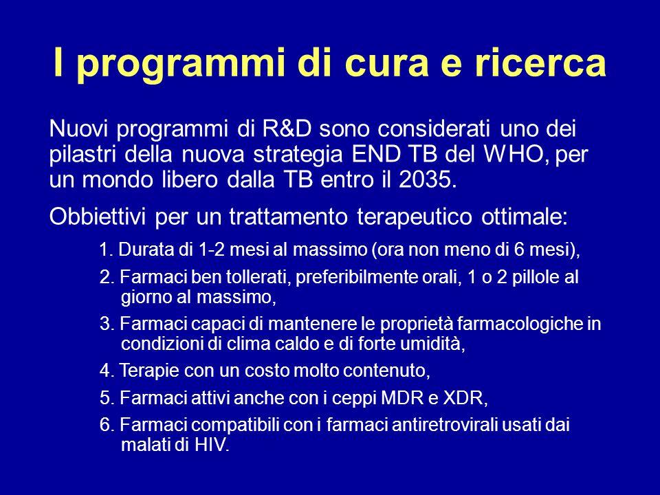 I programmi di cura e ricerca Nuovi programmi di R&D sono considerati uno dei pilastri della nuova strategia END TB del WHO, per un mondo libero dalla