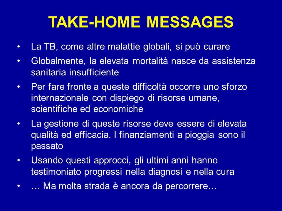 TAKE-HOME MESSAGES La TB, come altre malattie globali, si può curare Globalmente, la elevata mortalità nasce da assistenza sanitaria insufficiente Per