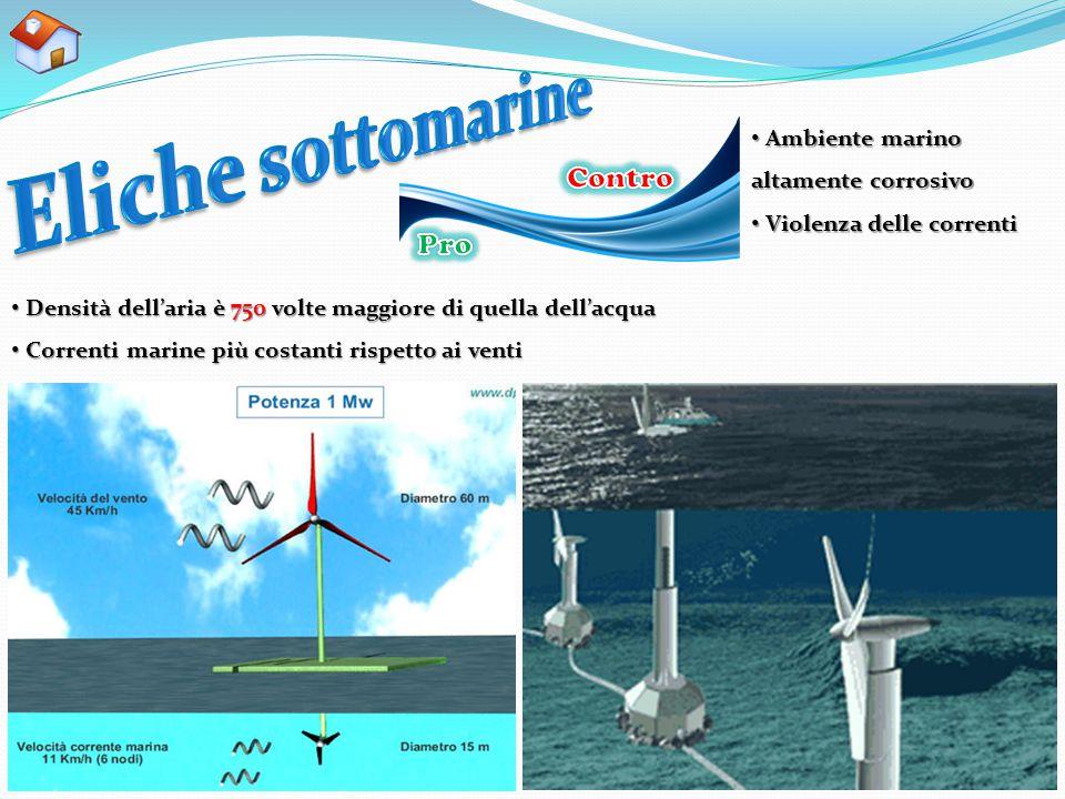 Densità dell'aria è 750 volte maggiore di quella dell'acqua Densità dell'aria è 750 volte maggiore di quella dell'acqua Correnti marine più costanti r