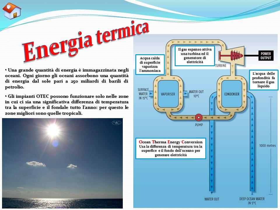 Acqua calda di superficie vaporizza l'ammoniaca Il gas espanso attiva una turbina ed il generatore di elettricità L'acqua delle profondità fa tornare