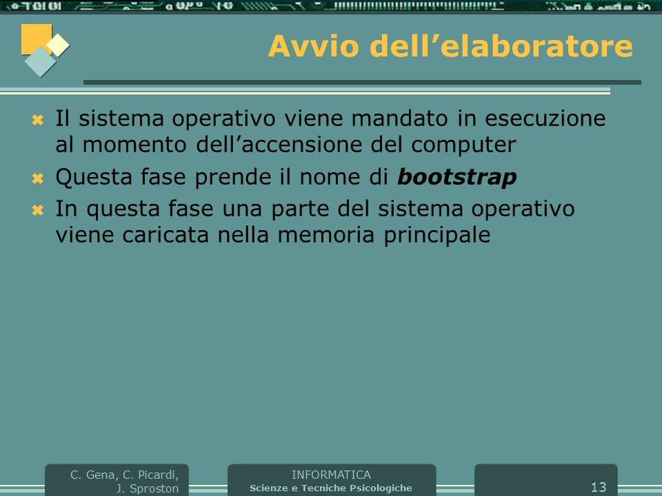 INFORMATICA Scienze e Tecniche Psicologiche C. Gena, C. Picardi, J. Sproston 13 Avvio dell'elaboratore  Il sistema operativo viene mandato in esecuzi