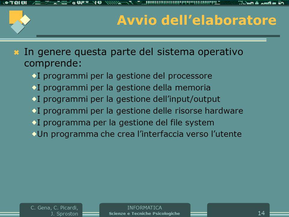 INFORMATICA Scienze e Tecniche Psicologiche C. Gena, C. Picardi, J. Sproston 14 Avvio dell'elaboratore  In genere questa parte del sistema operativo