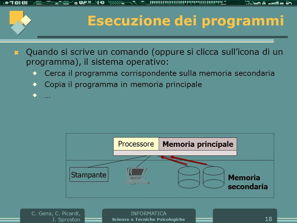INFORMATICA Scienze e Tecniche Psicologiche C. Gena, C. Picardi, J. Sproston 18 Esecuzione dei programmi  Quando si scrive un comando (oppure si clic