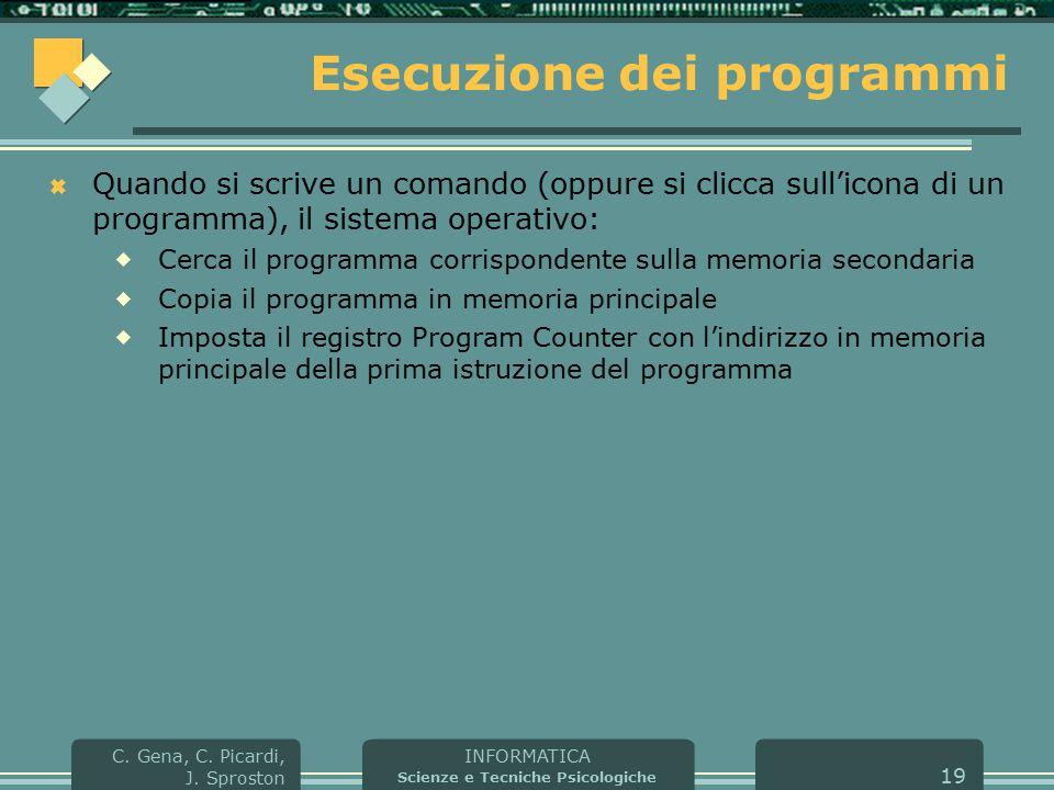 INFORMATICA Scienze e Tecniche Psicologiche C. Gena, C. Picardi, J. Sproston 19 Esecuzione dei programmi  Quando si scrive un comando (oppure si clic