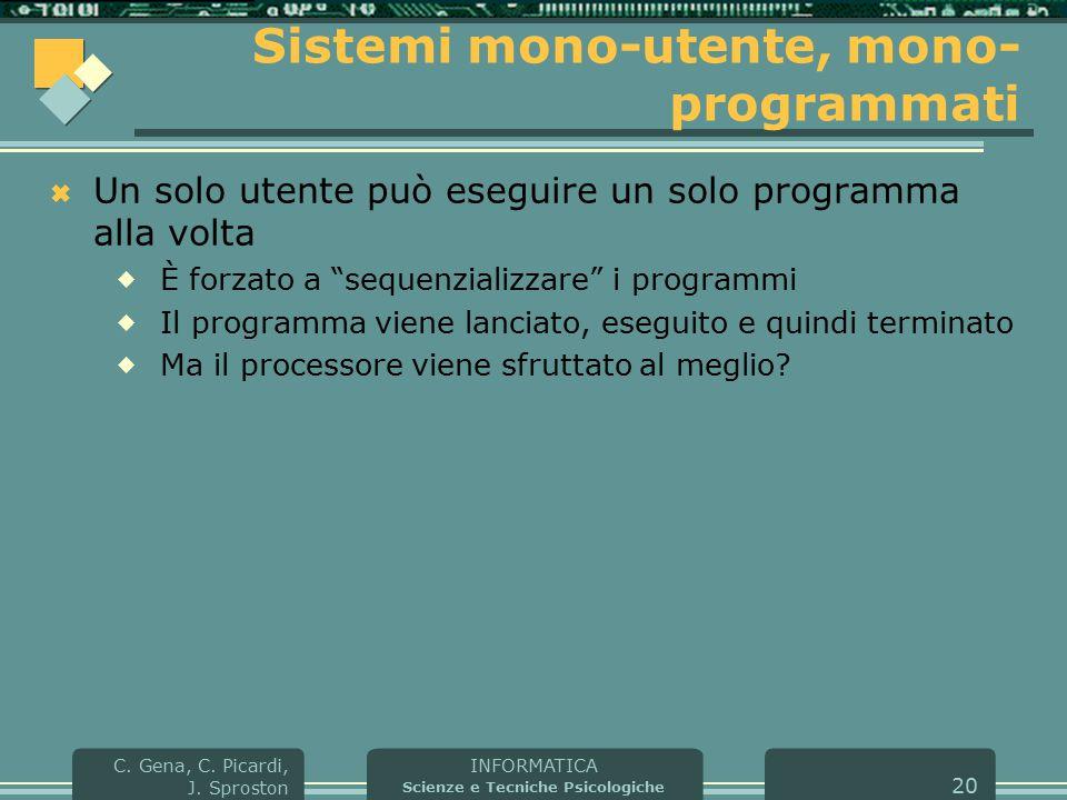 INFORMATICA Scienze e Tecniche Psicologiche C. Gena, C. Picardi, J. Sproston 20 Sistemi mono-utente, mono- programmati  Un solo utente può eseguire u