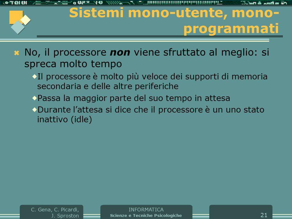 INFORMATICA Scienze e Tecniche Psicologiche C. Gena, C. Picardi, J. Sproston 21 Sistemi mono-utente, mono- programmati  No, il processore non viene s