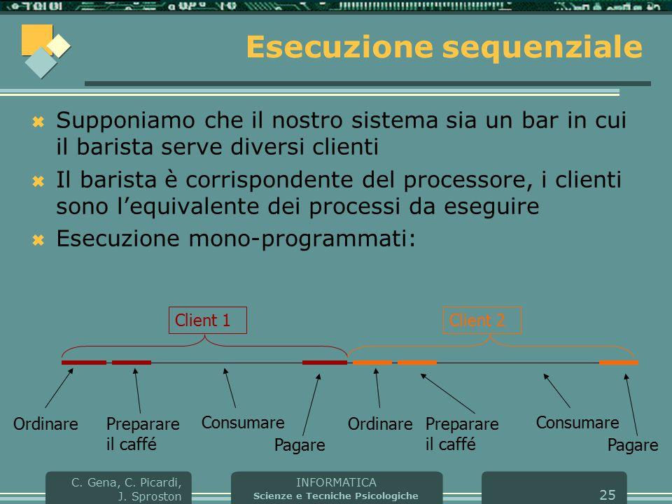 INFORMATICA Scienze e Tecniche Psicologiche C. Gena, C. Picardi, J. Sproston 25 Esecuzione sequenziale  Supponiamo che il nostro sistema sia un bar i