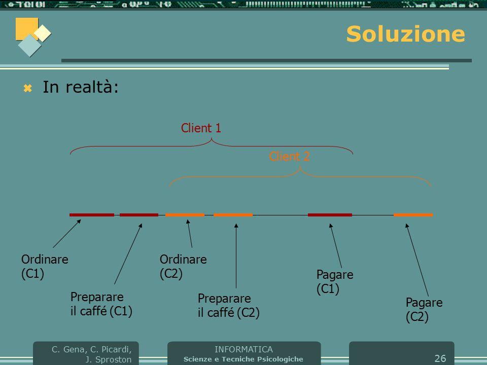 INFORMATICA Scienze e Tecniche Psicologiche C. Gena, C. Picardi, J. Sproston 26 Soluzione  In realtà: Ordinare (C1) Preparare il caffé (C1) Pagare