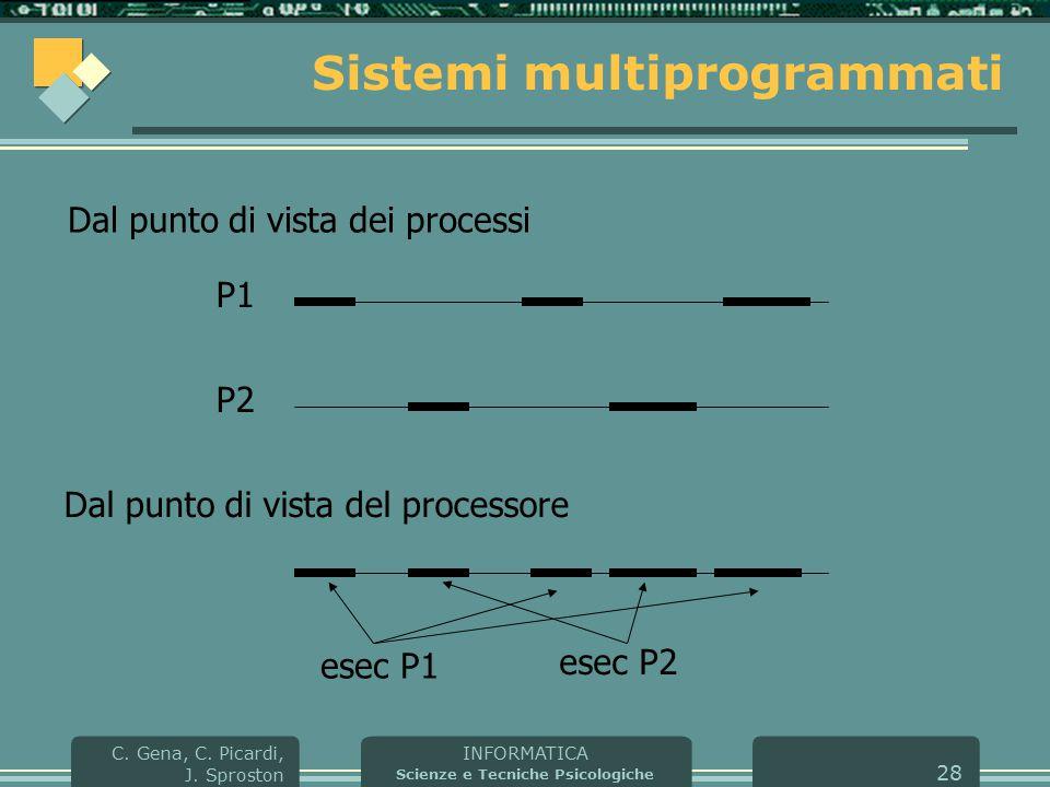 INFORMATICA Scienze e Tecniche Psicologiche C. Gena, C. Picardi, J. Sproston 28 Sistemi multiprogrammati Dal punto di vista dei processi Dal punto di