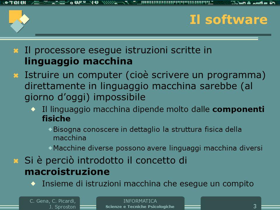 INFORMATICA Scienze e Tecniche Psicologiche C. Gena, C. Picardi, J. Sproston 3 Il software  Il processore esegue istruzioni scritte in linguaggio mac