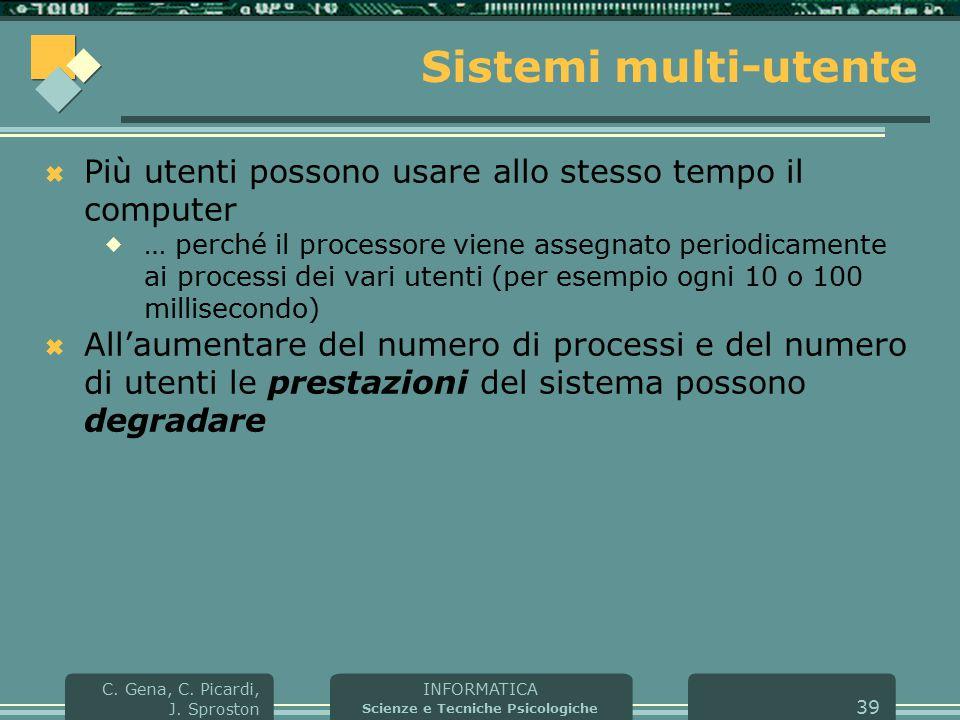 INFORMATICA Scienze e Tecniche Psicologiche C. Gena, C. Picardi, J. Sproston 39 Sistemi multi-utente  Più utenti possono usare allo stesso tempo il c
