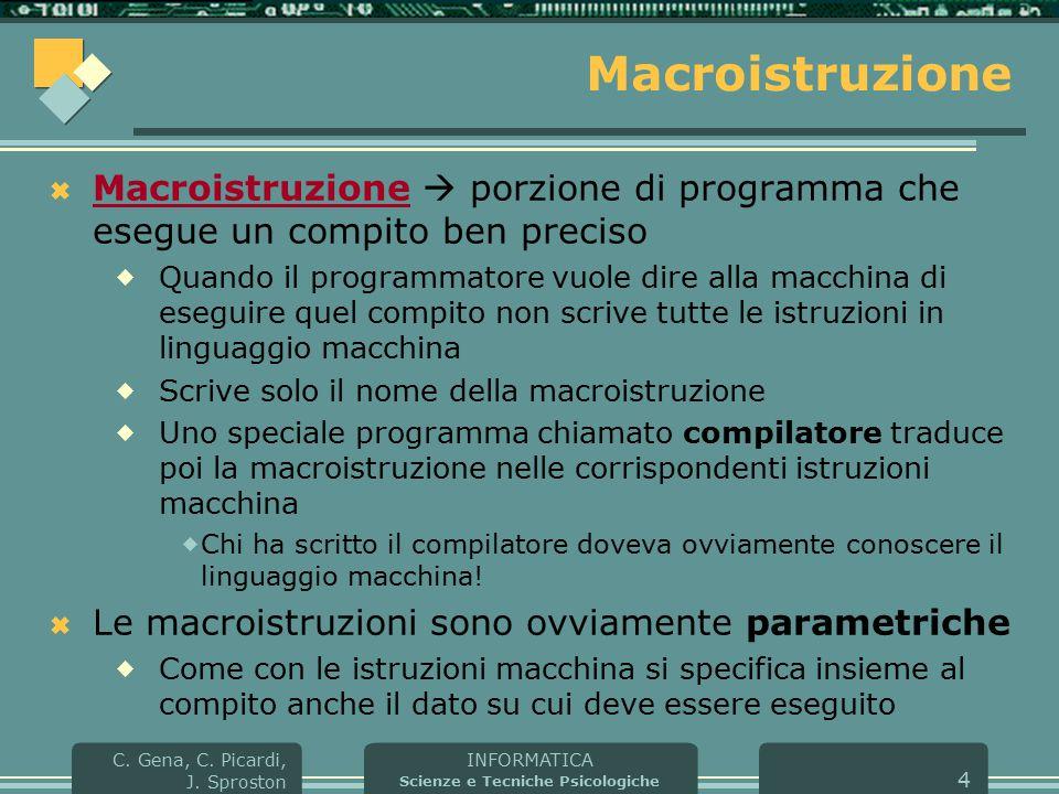 INFORMATICA Scienze e Tecniche Psicologiche C. Gena, C. Picardi, J. Sproston 4 Macroistruzione  Macroistruzione  porzione di programma che esegue un