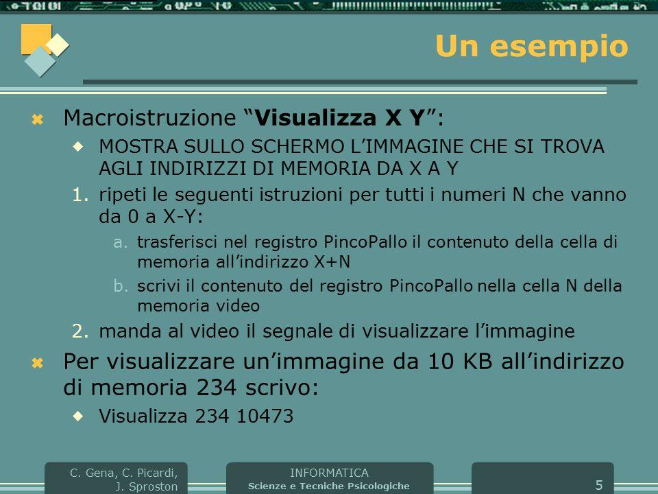 """INFORMATICA Scienze e Tecniche Psicologiche C. Gena, C. Picardi, J. Sproston 5 Un esempio  Macroistruzione """"Visualizza X Y"""":  MOSTRA SULLO SCHERMO L"""