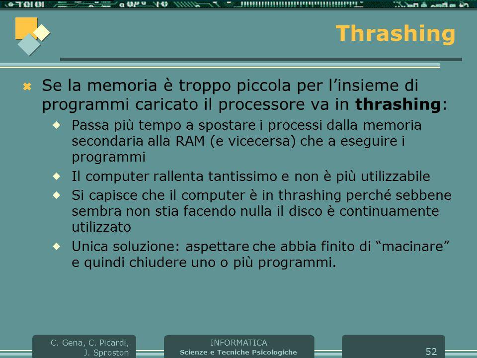 INFORMATICA Scienze e Tecniche Psicologiche C. Gena, C. Picardi, J. Sproston 52 Thrashing  Se la memoria è troppo piccola per l'insieme di programmi