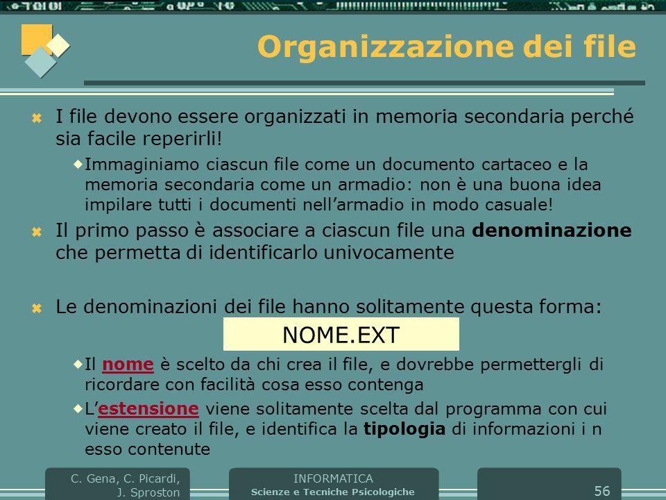 INFORMATICA Scienze e Tecniche Psicologiche C. Gena, C. Picardi, J. Sproston 56 Organizzazione dei file  I file devono essere organizzati in memoria
