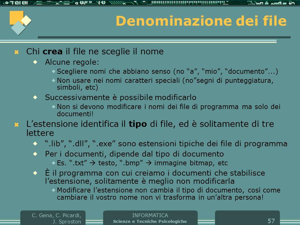 INFORMATICA Scienze e Tecniche Psicologiche C. Gena, C. Picardi, J. Sproston 57 Denominazione dei file  Chi crea il file ne sceglie il nome  Alcune