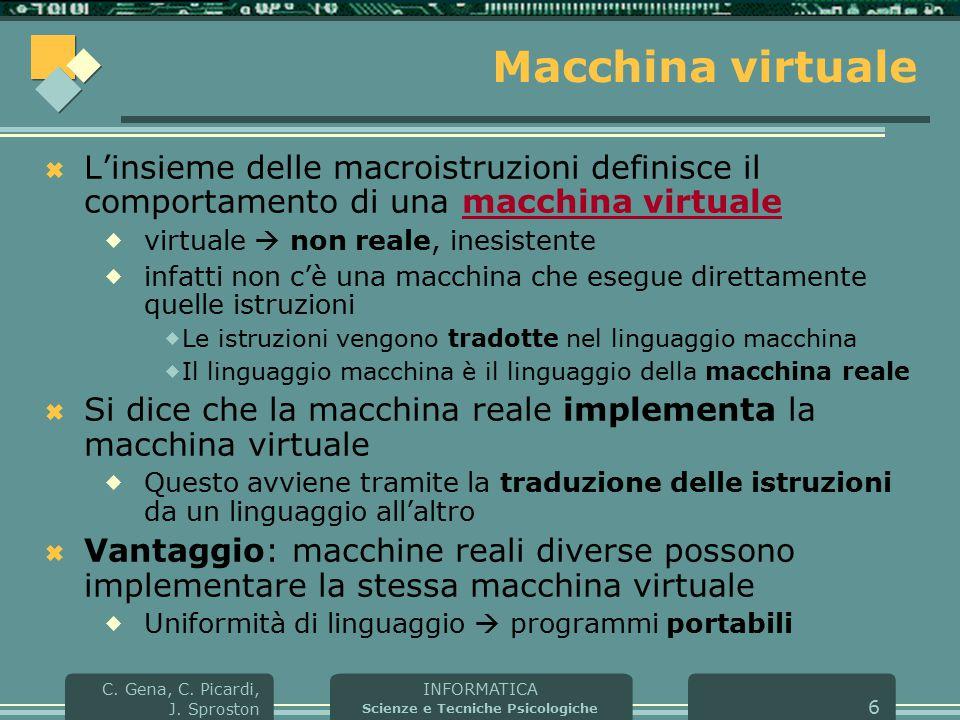 INFORMATICA Scienze e Tecniche Psicologiche C. Gena, C. Picardi, J. Sproston 6 Macchina virtuale  L'insieme delle macroistruzioni definisce il compor