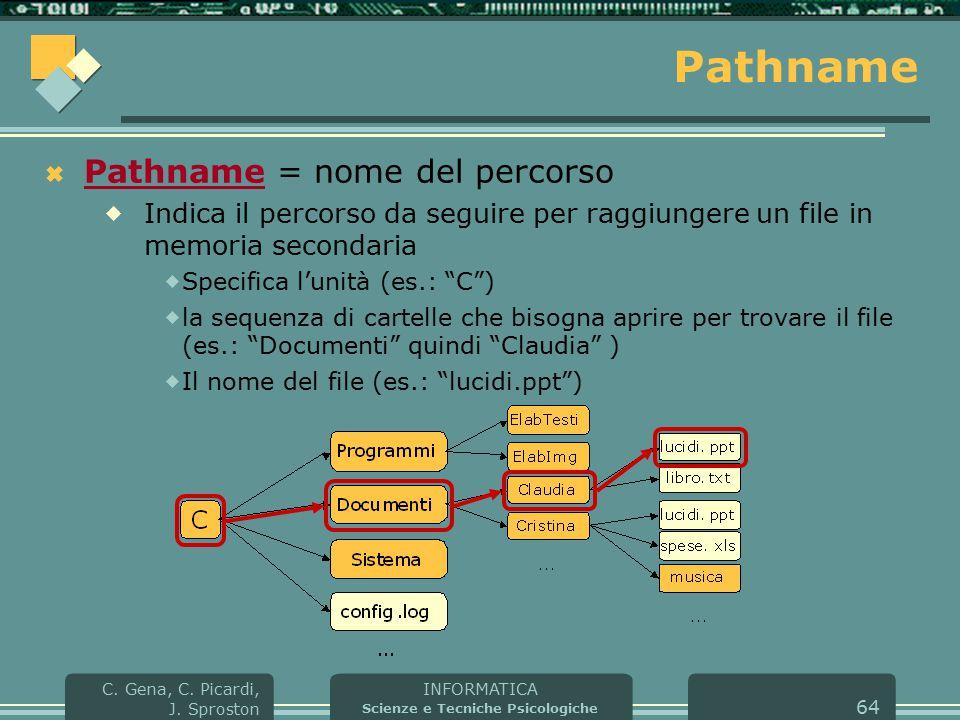 INFORMATICA Scienze e Tecniche Psicologiche C. Gena, C. Picardi, J. Sproston 64 Pathname  Pathname = nome del percorso  Indica il percorso da seguir