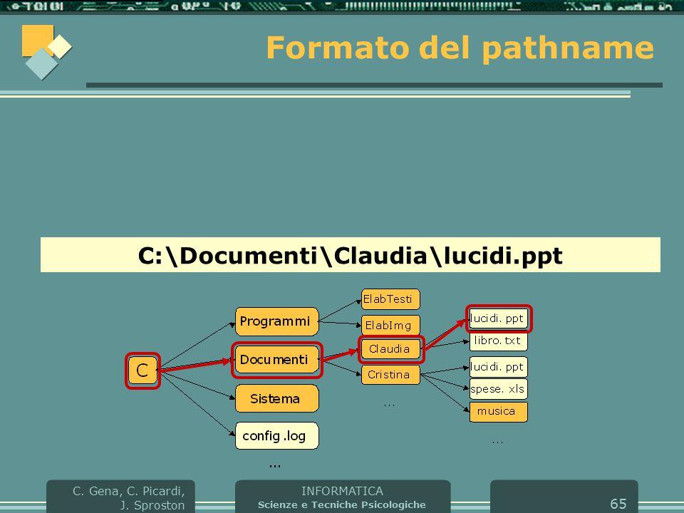 INFORMATICA Scienze e Tecniche Psicologiche C. Gena, C. Picardi, J. Sproston 65 Formato del pathname C:\Documenti\Claudia\lucidi.ppt