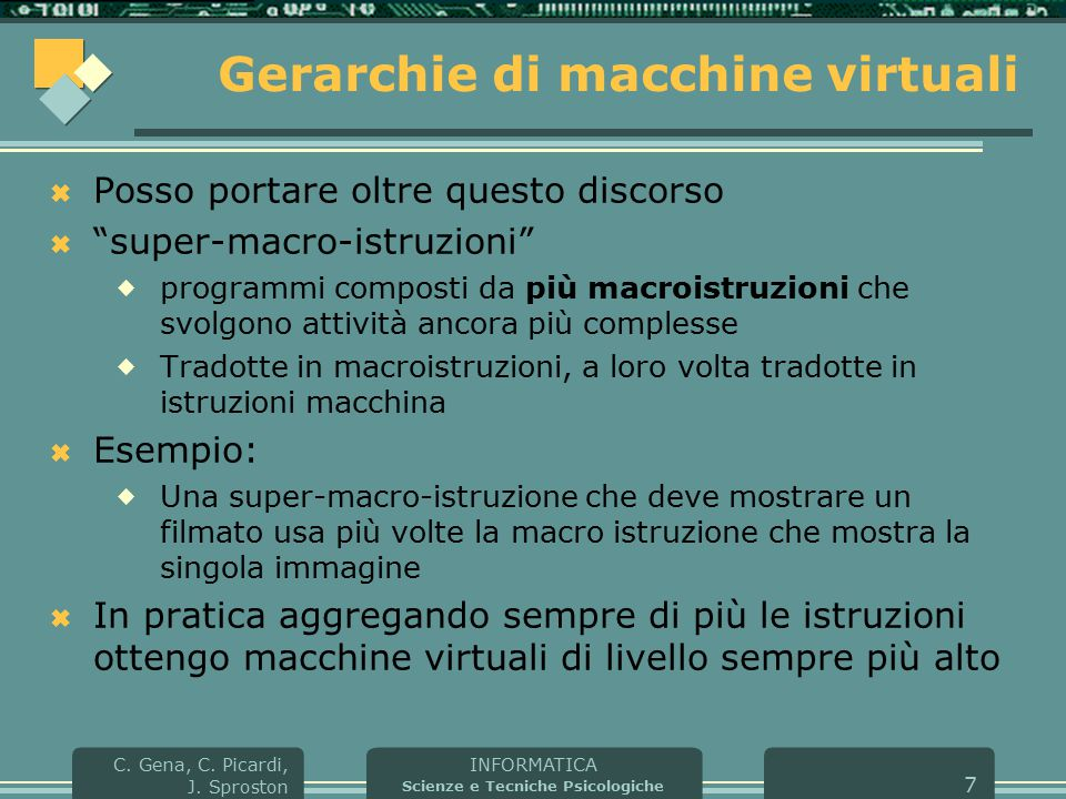 INFORMATICA Scienze e Tecniche Psicologiche C. Gena, C. Picardi, J. Sproston 7 Gerarchie di macchine virtuali  Posso portare oltre questo discorso 