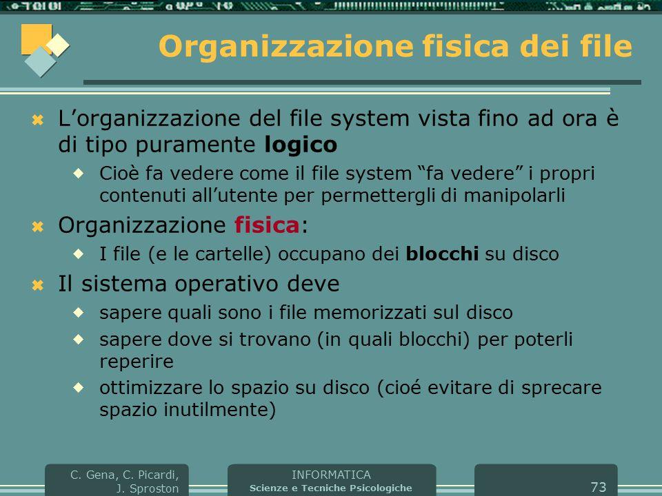 INFORMATICA Scienze e Tecniche Psicologiche C. Gena, C. Picardi, J. Sproston 73 Organizzazione fisica dei file  L'organizzazione del file system vist