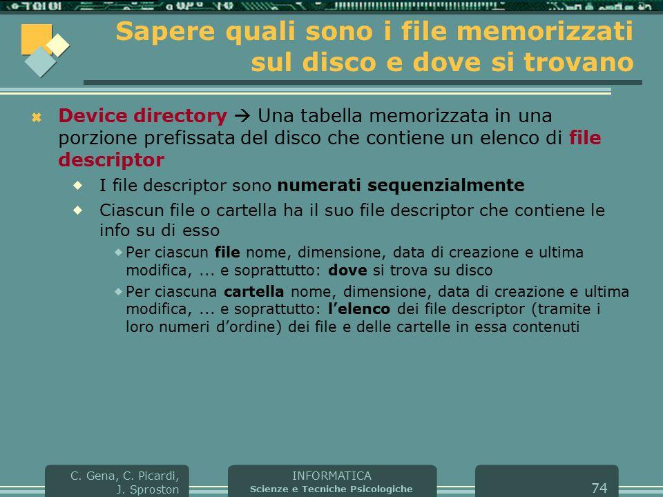 INFORMATICA Scienze e Tecniche Psicologiche C. Gena, C. Picardi, J. Sproston 74 Sapere quali sono i file memorizzati sul disco e dove si trovano  Dev