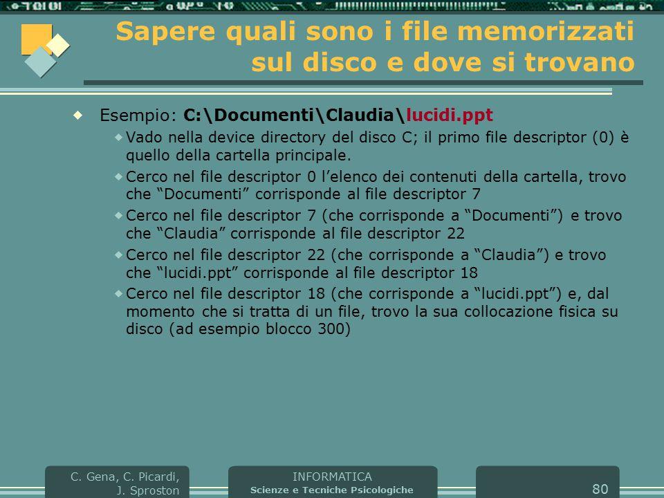 INFORMATICA Scienze e Tecniche Psicologiche C. Gena, C. Picardi, J. Sproston 80 Sapere quali sono i file memorizzati sul disco e dove si trovano  Ese