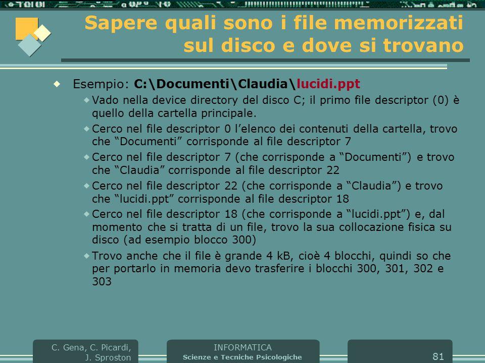 INFORMATICA Scienze e Tecniche Psicologiche C. Gena, C. Picardi, J. Sproston 81 Sapere quali sono i file memorizzati sul disco e dove si trovano  Ese