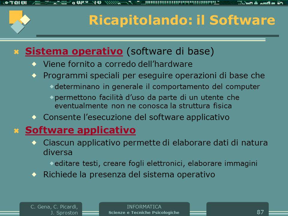 INFORMATICA Scienze e Tecniche Psicologiche C. Gena, C. Picardi, J. Sproston 87 Ricapitolando: il Software  Sistema operativo (software di base)  