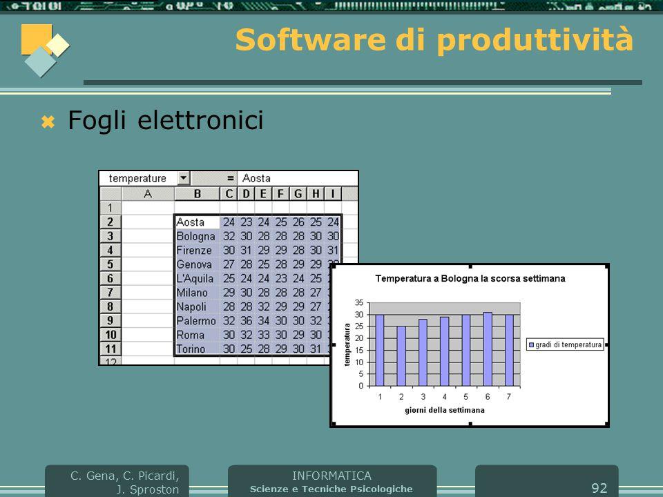 INFORMATICA Scienze e Tecniche Psicologiche C. Gena, C. Picardi, J. Sproston 92 Software di produttività  Fogli elettronici