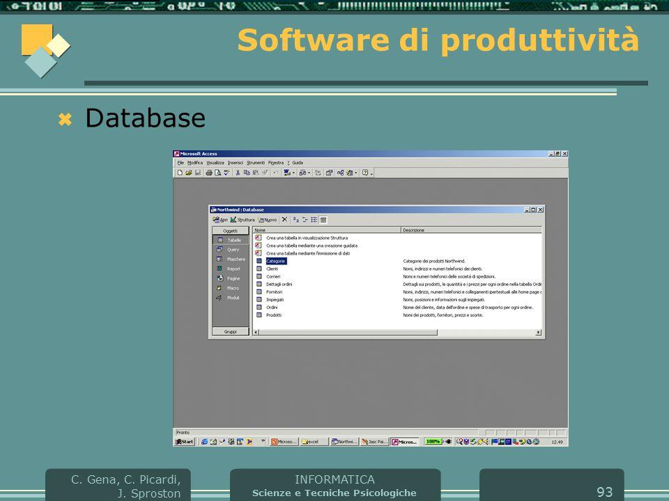 INFORMATICA Scienze e Tecniche Psicologiche C. Gena, C. Picardi, J. Sproston 93 Software di produttività  Database