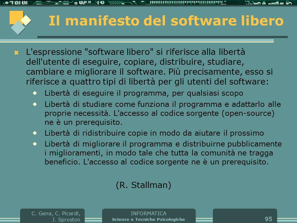INFORMATICA Scienze e Tecniche Psicologiche C. Gena, C. Picardi, J. Sproston 95 Il manifesto del software libero  L'espressione