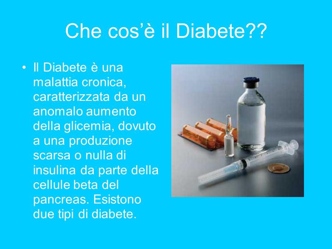 Che cos'è il Diabete?? Il Diabete è una malattia cronica, caratterizzata da un anomalo aumento della glicemia, dovuto a una produzione scarsa o nulla