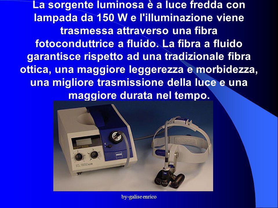 by-galise enrico La sorgente luminosa è a luce fredda con lampada da 150 W e l illuminazione viene trasmessa attraverso una fibra fotoconduttrice a fluido.