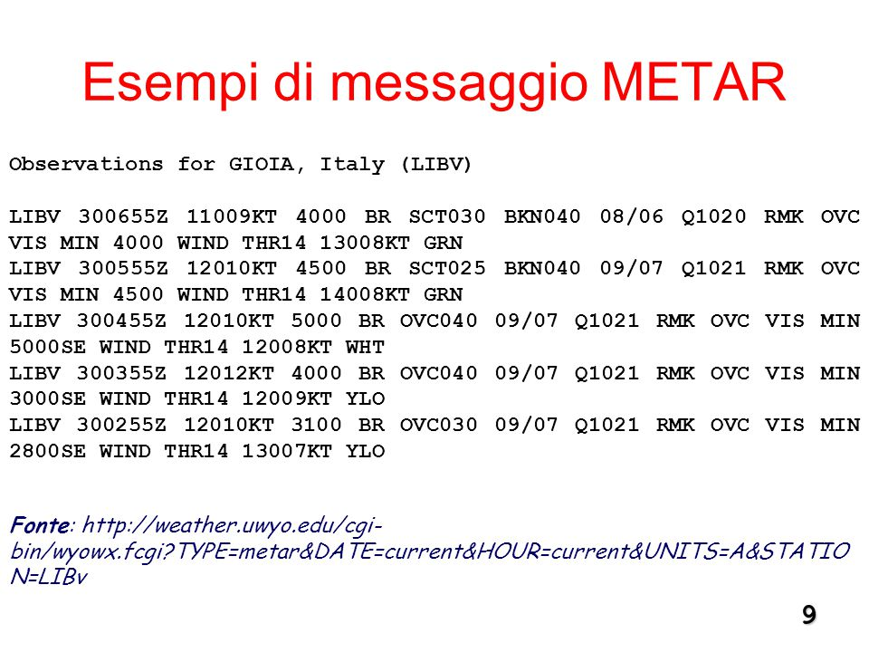 9 Esempi di messaggio METAR Observations for GIOIA, Italy (LIBV) LIBV 300655Z 11009KT 4000 BR SCT030 BKN040 08/06 Q1020 RMK OVC VIS MIN 4000 WIND THR14 13008KT GRN LIBV 300555Z 12010KT 4500 BR SCT025 BKN040 09/07 Q1021 RMK OVC VIS MIN 4500 WIND THR14 14008KT GRN LIBV 300455Z 12010KT 5000 BR OVC040 09/07 Q1021 RMK OVC VIS MIN 5000SE WIND THR14 12008KT WHT LIBV 300355Z 12012KT 4000 BR OVC040 09/07 Q1021 RMK OVC VIS MIN 3000SE WIND THR14 12009KT YLO LIBV 300255Z 12010KT 3100 BR OVC030 09/07 Q1021 RMK OVC VIS MIN 2800SE WIND THR14 13007KT YLO Fonte: http://weather.uwyo.edu/cgi- bin/wyowx.fcgi TYPE=metar&DATE=current&HOUR=current&UNITS=A&STATIO N=LIBv