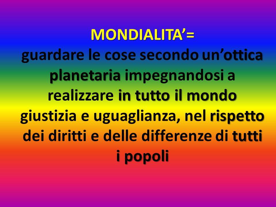 MONDIALITA'= ottica planetaria in tutto il mondo rispetto tutti i popoli MONDIALITA'= guardare le cose secondo un'ottica planetaria impegnandosi a realizzare in tutto il mondo giustizia e uguaglianza, nel rispetto dei diritti e delle differenze di tutti i popoli