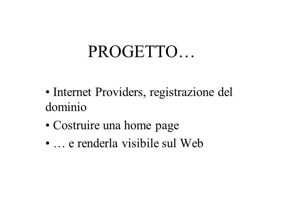 PROGETTO… Internet Providers, registrazione del dominio Costruire una home page … e renderla visibile sul Web