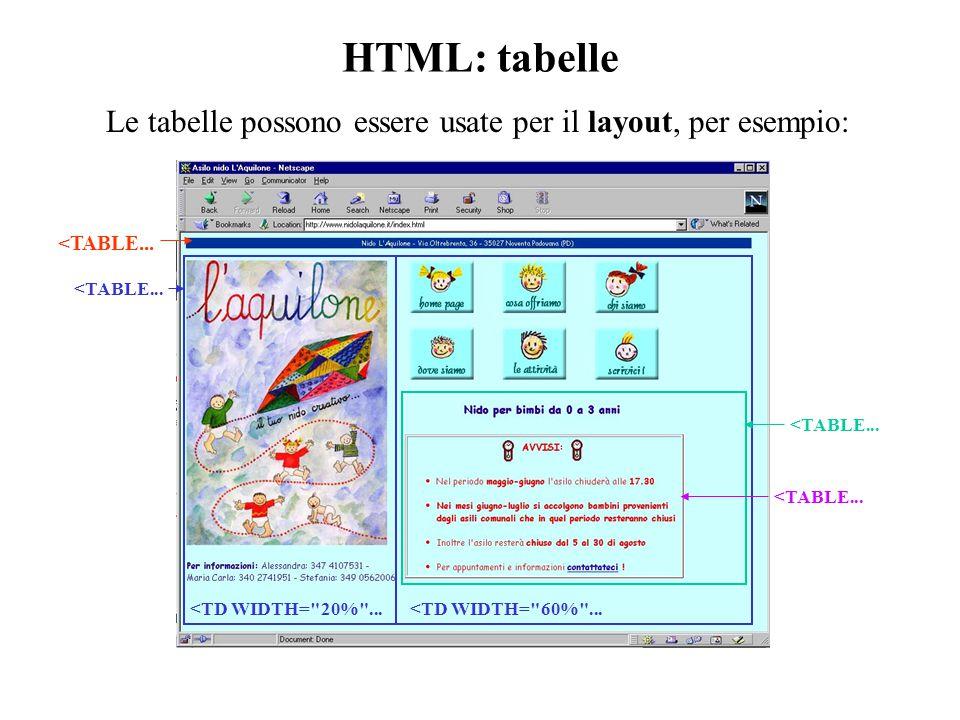 HTML: tabelle Le tabelle possono essere usate per il layout, per esempio: <TABLE...