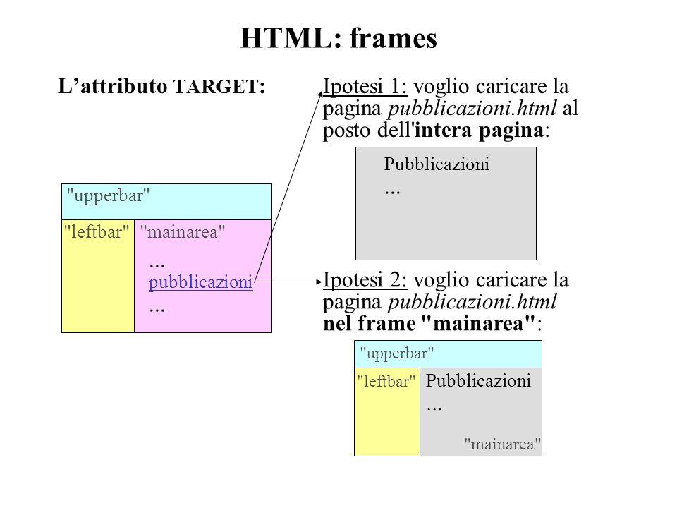 HTML: frames L'attributo TARGET : upperbar leftbar mainarea ...
