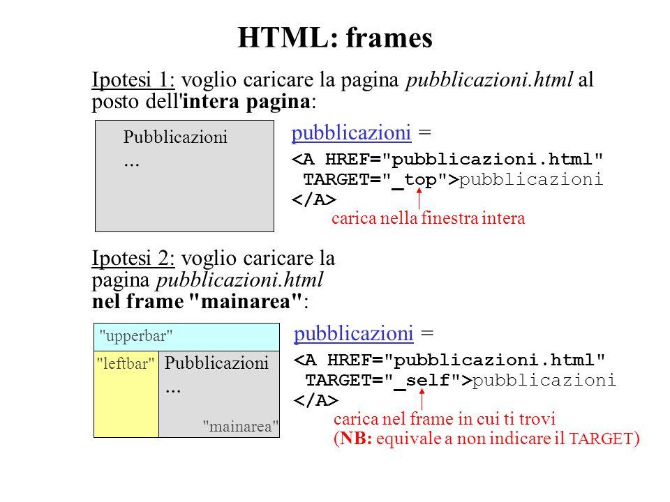 HTML: frames Ipotesi 1: voglio caricare la pagina pubblicazioni.html al posto dell intera pagina: Pubblicazioni...