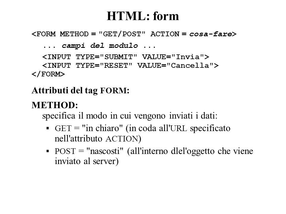 HTML: form... campi del modulo...