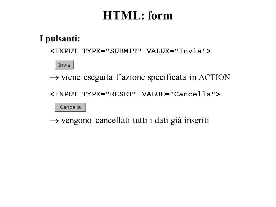 HTML: form I pulsanti:  viene eseguita l'azione specificata in ACTION  vengono cancellati tutti i dati già inseriti