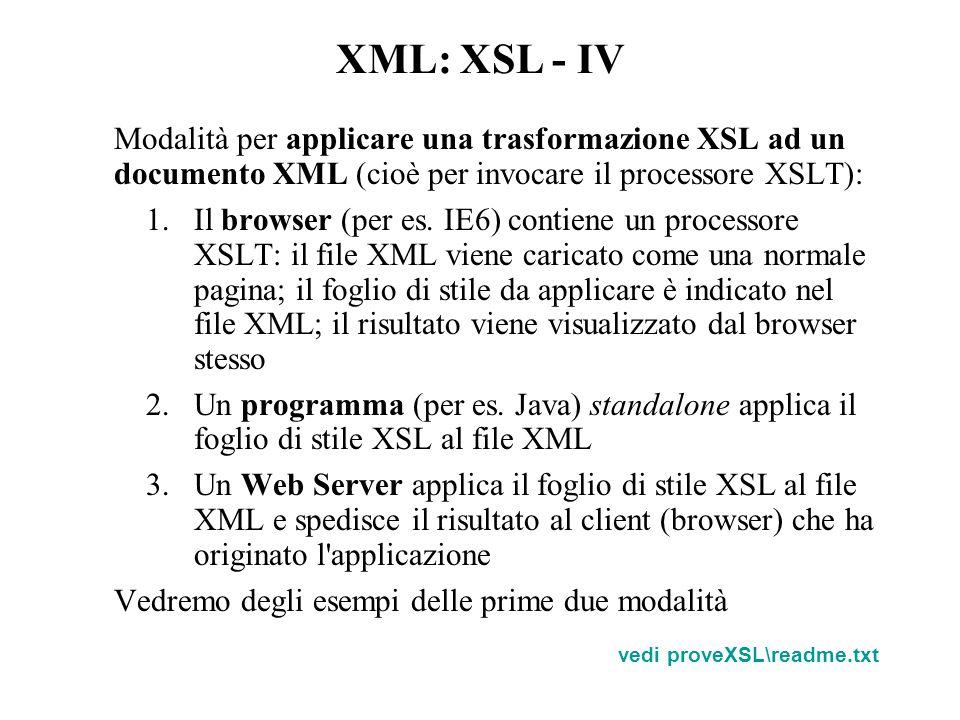 Modalità per applicare una trasformazione XSL ad un documento XML (cioè per invocare il processore XSLT): 1.Il browser (per es.