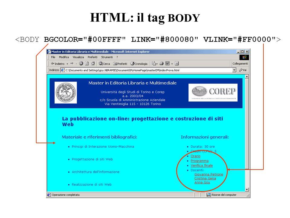 HTML: il tag BODY