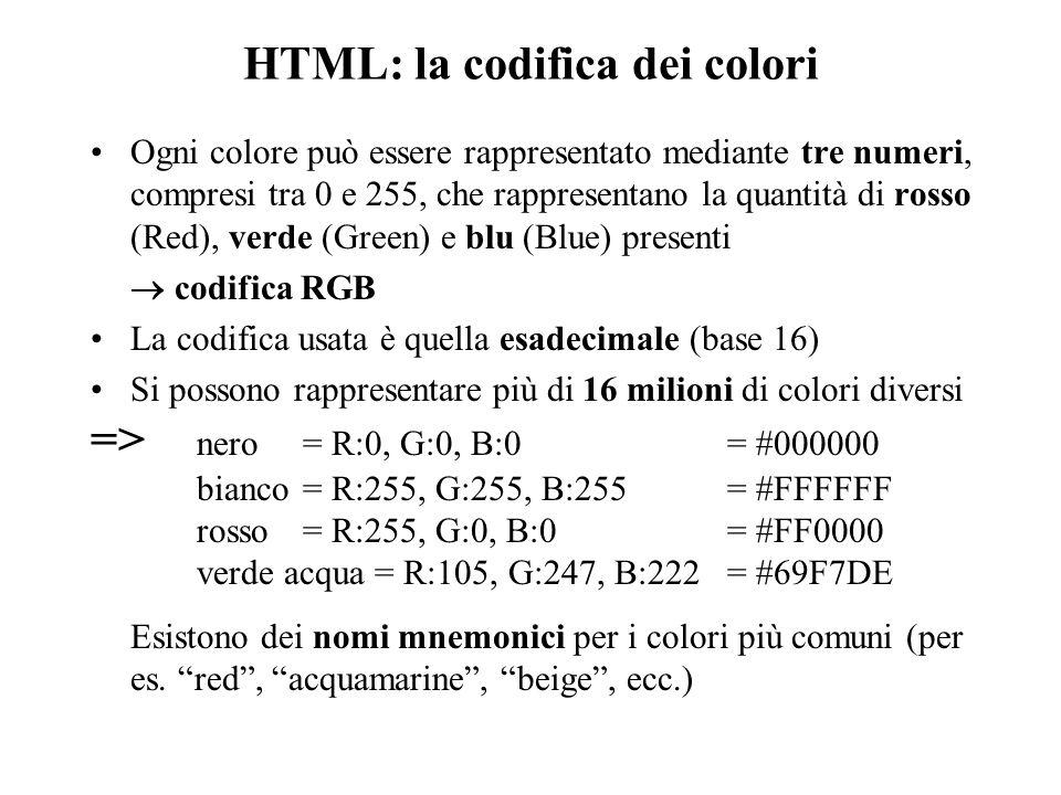 HTML: la codifica dei colori Ogni colore può essere rappresentato mediante tre numeri, compresi tra 0 e 255, che rappresentano la quantità di rosso (Red), verde (Green) e blu (Blue) presenti  codifica RGB La codifica usata è quella esadecimale (base 16) Si possono rappresentare più di 16 milioni di colori diversi => nero = R:0, G:0, B:0 = #000000 bianco= R:255, G:255, B:255 = #FFFFFF rosso= R:255, G:0, B:0= #FF0000 verde acqua = R:105, G:247, B:222 = #69F7DE Esistono dei nomi mnemonici per i colori più comuni (per es.