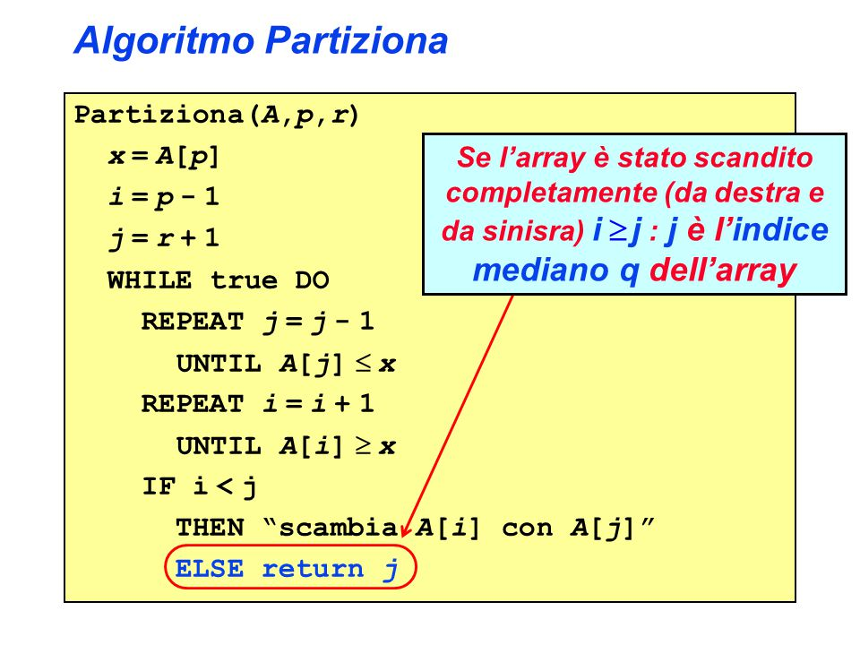 Algoritmo Partiziona Partiziona(A,p,r) x = A[p] i = p - 1 j = r + 1 WHILE true DO REPEAT j = j - 1 UNTIL A[j]  x REPEAT i = i + 1 UNTIL A[i]  x IF i < j THEN scambia A[i] con A[j] ELSE return j Se l'array è stato scandito completamente (da destra e da sinisra) i  j : j è l'indice mediano q dell'array