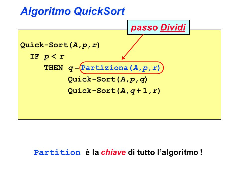 Algoritmo Partiziona: partiziona(A,1,12) Partiziona(A,p,r) x = A[p] i = p - 1 j = r + 1 WHILE true DO REPEAT j = j - 1 UNTIL A[j]  x REPEAT i = i + 1 UNTIL A[i]  x IF i < j THEN scambia A[i] con A[j] ELSE return j 1 2 3 4 5 6 7 8 9 10 11 12 16 14 12 15 34 45 28 30 21 25 20 22 ij x